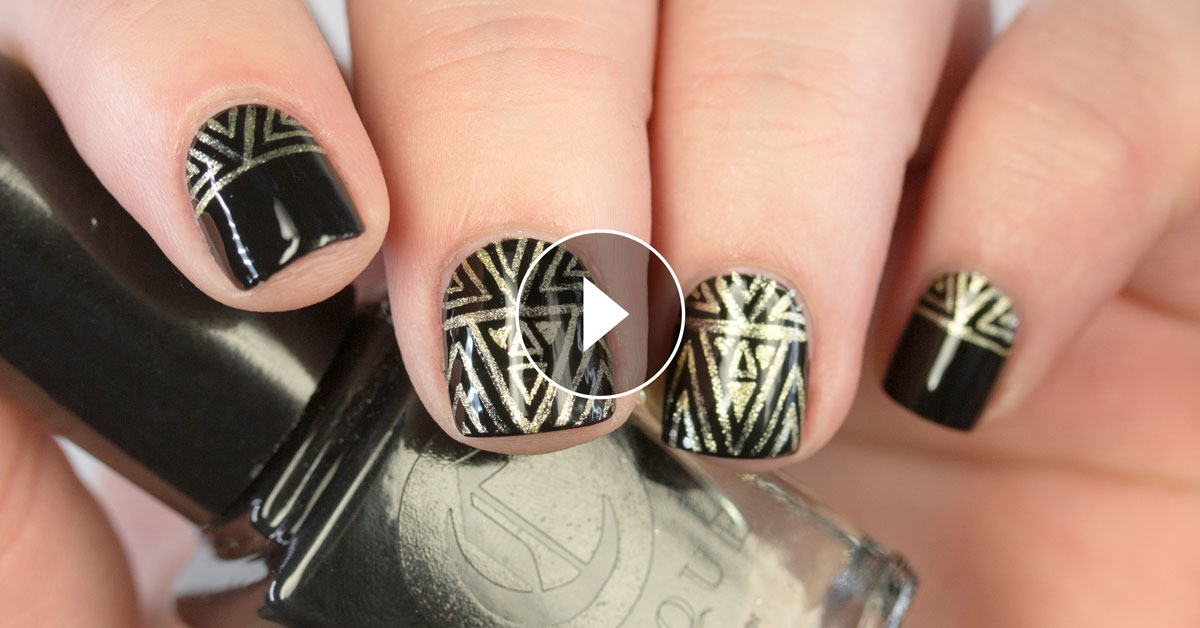 The Nailasaurus Uk Nail Art Blog Freehanded Geometric New Year S Eve Nail Art Video